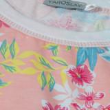Платье (трикотаж) м.Ф-119 персиковое в цветочки