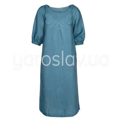 Платье лен ТМ «Ярослав» м.Ф-313 синее