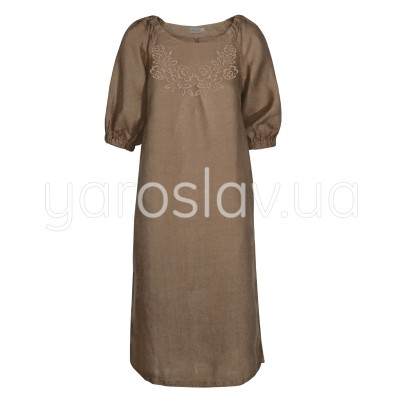 Платье лен ТМ «Ярослав» м.Ф-313 коричневое