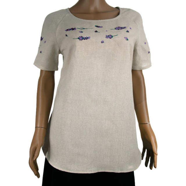 Блуза льняная с вышивкой м.967 лаванда