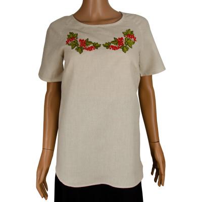 Блуза льняная с вышивкой м.967 калина