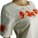 Блуза льняная с вышивкой м.967 маки
