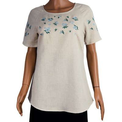 Блуза льняная с вышивкой м.967 незабудки