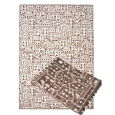 Ковдра з бавовни Ярослав 6 коричневі будиночки