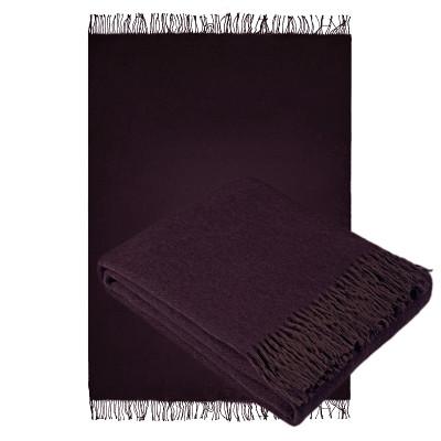 Плед Ярослав бордово-коричневый из шерсти мериноса