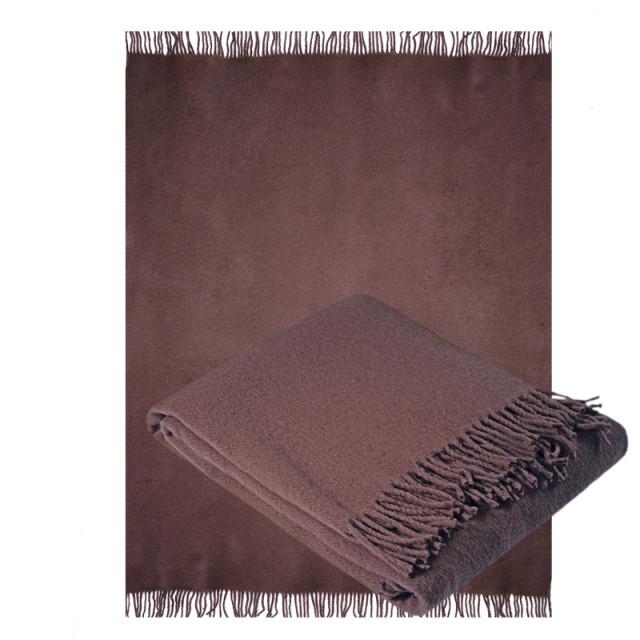 Плед Ярослав коричневый из шерсти мериноса