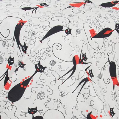 Ткань бязь набивная t270 кошки на сером